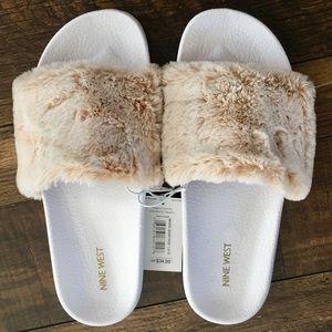 Nine West faux fur sandals